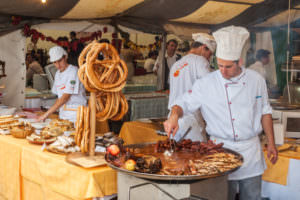 VARAZDIN, CROATIA - SEPTEMBER 2, 2007:  Professional cook cookin