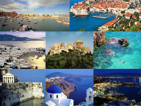 коладж из греческих островов