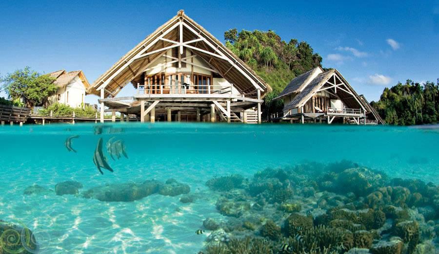 Бунгало на острове Папуа.